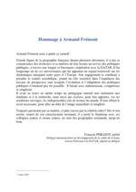 thumbnail of Hommage à Armand Fremont par François Philizot