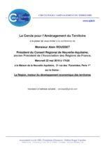 thumbnail of Annonce conference du 22 mai 2019 par Alain ROUSSET